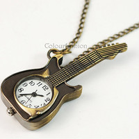 Pocket Watch, Antique Guitar, Bronze Guitar Pendant, Brass Watch, Guitar Pocket Watch Necklace, Antique Jewelry,Gift for Lover  SC-5