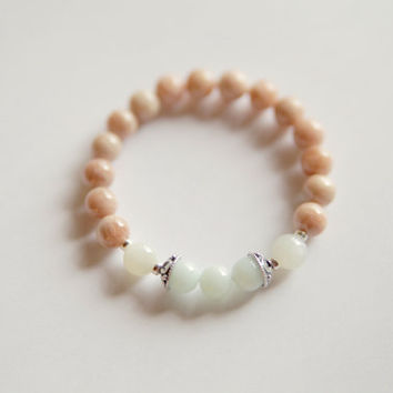 Genuine Amazonite, Rainbow & Peach Moonstone Bracelet w/ Vermeil Accents ~ Healing Bracelet ~ Creativity, Intuition and Inner Growth