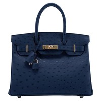 Hermes Handbag Birkin 30 Ostrich Leather 7C Blue Cobalt Color Gold Hardware 2016