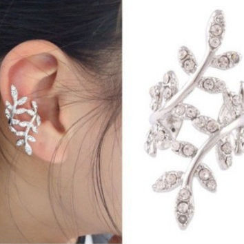 Lovely plum leaves diamond earring shiny ears clip [11192813204]