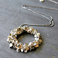 Silver Sparkle Hoop Long Necklace, Glamourous Everyday Necklace