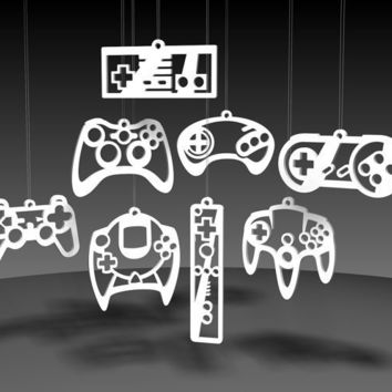 Video Game Controller ornaments White acrylic by useyourdigits