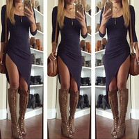 Irregular sexy open fork dress