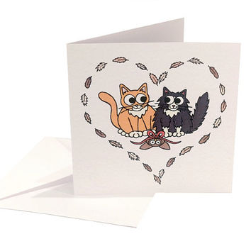Cats in Love Card - blank inside - cute cat Valentine's card with ginger tom and black and white kitty in heart of feathers, cat lovers card