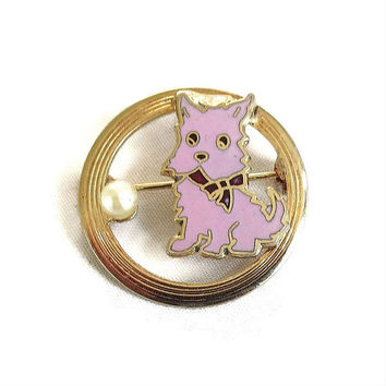 Pink Enamel & Cultured Pearl Scotty Dog Brooch Vintage 1950's Mid-Century Scottish Terrier
