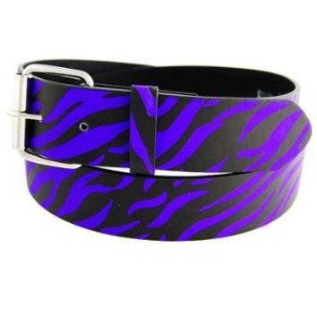 Purple GENUINE LEATHER ZEBRA PRINT SNAP ON BELT WITH BUCKLE Small (30-33)