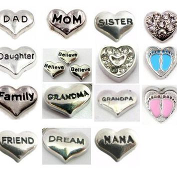 Multiple Choise 20PCS/lot Friend Dream Family Mom Heart Floating Locket Charms Fit For Memory Magnetic Locket Pendant