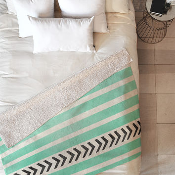 Allyson Johnson Mint Stripes And Arrows Fleece Throw Blanket