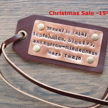 Christmas Sale -15% Personalized Leather Luggage Tags, Latitude Longitude Luggage Tags, State Map Luggage tag, - Leather Gift