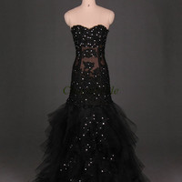 vintage black tulle wedding dresses with rhinestone / stunning mermaid bridal gowns long/ applique lace sweetheart dress for wedding party