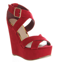 Office Jo Jo X Front Wedge Dark Red - High Heels