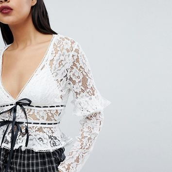 Fashion Union Lace Crop Top With Ruffle Sleeve Detail And Ribbon Ties at asos.com