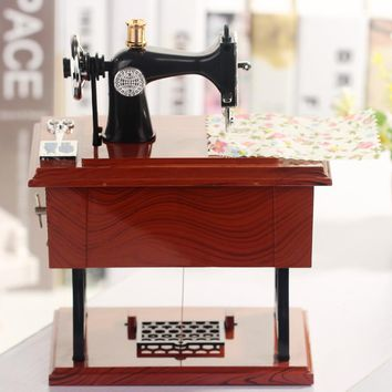 Z2522 Restore Ancient Ways Classic Sewing Machine Music Box Classical Furniture Model The Music Box Lovers Gift