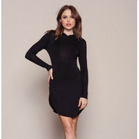 Hoodies Split Dress One Piece Dress [4918037380]