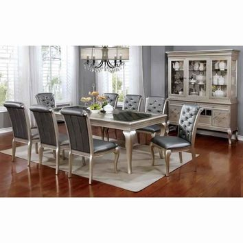Amina Contemporary Style Elegant Dining Table, Silver By Casagear Home