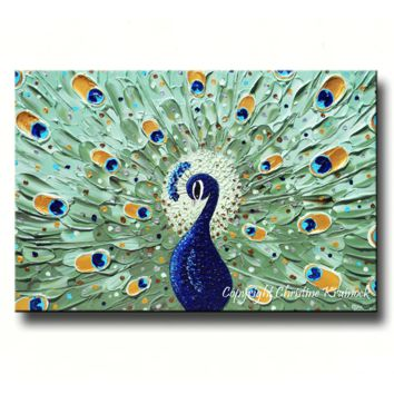 CUSTOM Abstract Painting Peacock Modern Textured Fine Art Sapphire Blue Green MADE to ORDER