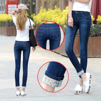6 EXTRA LARGE Jeans  Models Two Cuffs Worn Jeans Female Casual Trousers Pencil Pants Jeans Woman High Waist Jeans Plus Size