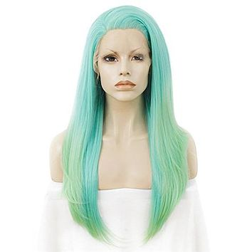 Long Chigusa Green Ombre Synthetic Lace Front Wig