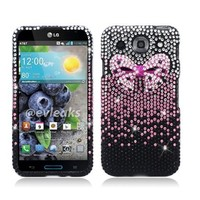 For LG E980 Optimus G Pro (AT&T) 3D Full Diamond Protector Case, Bow Tie, Pink