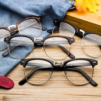 Half Metal Frame Round Horned Rim Rivets Retro Vintage Fashion Trendy Men Womens Optical Glasses Eyewear Eyeglasses Spectacles