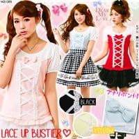 Front ribbon lace up Bustier shirt tops all P DM◆5/22 ships planned