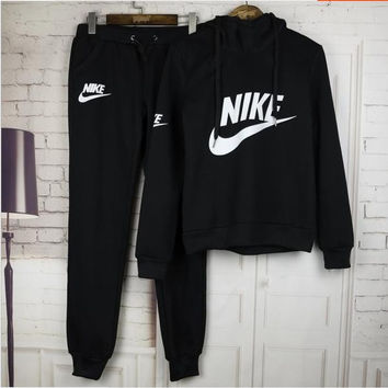 "Women Fashion ""NIKE"" Print Hoodie Top Sweater Pants Sweatpants Set Two-Piece Sportswear Black"
