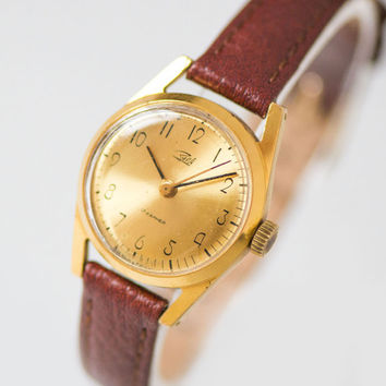 Mid size women's watch Zaria – gold plated woman wristwatch - classy lady watch gift - shockproof watch her gift -new premium leather strap