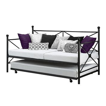 Twin Size Black Metal Day Bed Frame & Roll out Trundle Set