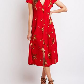 Floral Button Up Midi Dress | Charlotte Russe