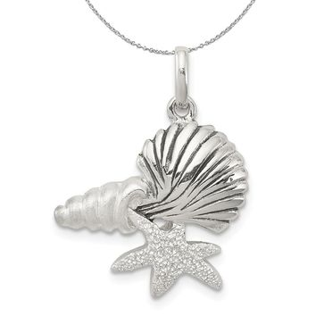 Sterling Silver Cluster Seashells Necklace