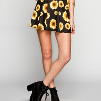 Full Tilt Sunflower Print Ponte Knit Skirt Black Combo  In Sizes