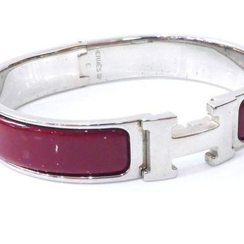 Gotopfashion 100% Authentic Hermes Cloisonne Bangle Bracelet H Logo Enamel Red SHW B1280