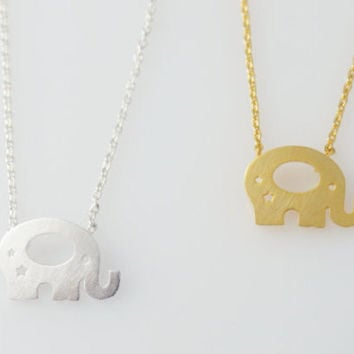 Elephant necklace, elephant charm necklace, safari necklace, cute elephant necklace, elephant jewellery, gold necklace, silver necklace