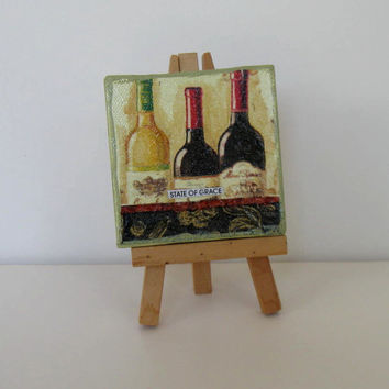 BTGO, Original Mixed Mini painting, Collage, mini easel, Wine art, Living Home Decor, gift idea