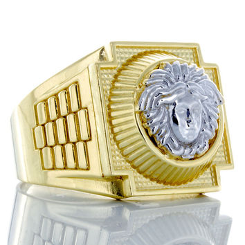 10K Yellow Rolex Style Versace Ring