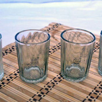 Set of 4 Soviet Drinking Glass 150 ml, 1970-s Soviet Design Collectible Tableware. Soviet Faceted Glass