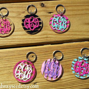 "2.5"" Acrylic Monogrammed Key chain you choose Pattern"
