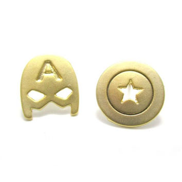 1Pair GOLD SILVER CAPTAIN AMERICA MASK AND SHIELD SHAPED STUD EARRINGS SUPER HEROES JEWELRY