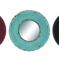Wooden Frame Round Shaped Metallic Wall Mirror With Black Border