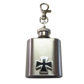 Black Square Cross Pendant 1 oz. Stainless Steel Key Chain Flask