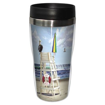 Pelican Perch Artful Travel Mug - Premium 16 oz Stainless Lined w/ No Spill Lid