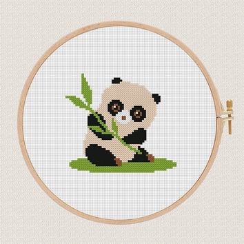 Gute Panda cross stitch pattern Baby Animals Cross stitch Funny cross stitch nursery kids room decor wall art