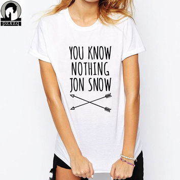 Women/Men Harajuku T-shirt You Know Nothing Jon Snow Funny Letter Printed Female T shirt 2017 Summer Games Of Thrones Couple Tee