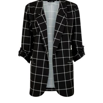 Black Scuba Grid Check Blazer | New Look