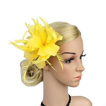 Song Sinamay Fascinators Feather Flower Hair Clip Bridal Hair Accessories Brooch for Party Wedding