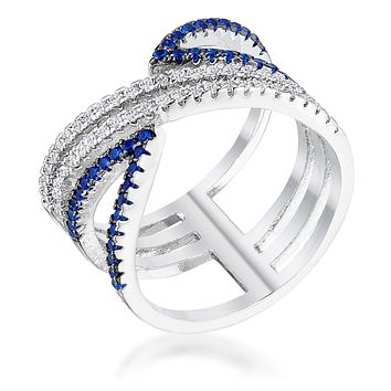 .46Ct Rhodium and Hematite Plated Blue and Clear CZ Micro Pave Crossover