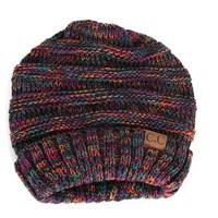 CC Beanie Cable Knit Oversized in Black Multi Color HAT-6242-BLKMULTI