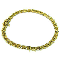 Diamond Tennis Bracelet 10k Gold Buttercup Setting 34 Diamonds