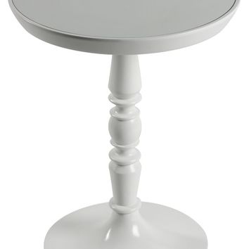 Dakota Side Table Glossy White Finish with Mirrored Glass Top