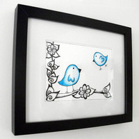 Original Bird Drawing Ink Illustration Blue Dotty Birds by JoArtyJo